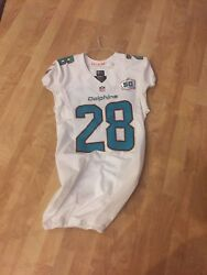 28 Bobby Mccain Authentic Miami Dolphins Game Used Worn Jersey Anv. Patch