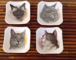 Lot Of 4 Vintage Royal Adderley Cat Mini Dishes Bone China Made In England