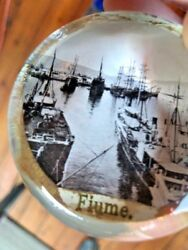 Antique Glass Paperweight 1920 Seaport Photograph Fiume Europe Sailing Ship Wwii