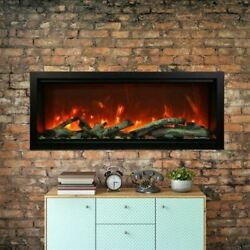 50 Extra Tall Clean Face Symmetry Electric Fireplace W/driftwood Logs