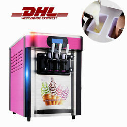 3 Flavors Automatic Drum Soft Ice Cream Making Maker Commercial Cooling Machine