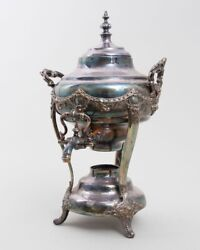 Antique Silverplate Coffee Urn Samovar With Spigot Spout Sterno Warmer 17 T