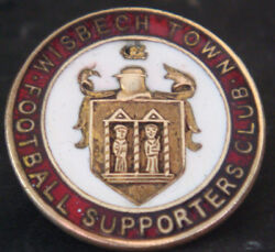 Wisbech Town Fc Vintage Supporters Club Badge Brooch Pin In Gilt 26mm Dia