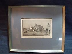 ANTIQUE BOSTON MASS. #x27;THE OLD FEATHER STORE#x27; BLOCK PRINTPRO FRAMED AND MATTED