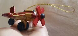 Handmade Wooden Toy Airplane Ornament Pre-owned Christmas Xmas tree decoration