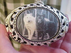 Real Hand Decorated Goose Egg Collectible Ornament Black White Wolf Wolves Ooak