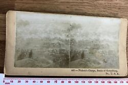 Pickett's Charge Battle Of Gettysburg Ps Usa 1800's Antique Stereoview