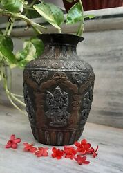 Vintage Old Brass Copper And Silver Water Pot With Authentic Design On It India