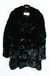 Saint Laurent Pairs Men's Real Mink Fur Pea Coat Jacket Hedi Slimane FW15 46 36