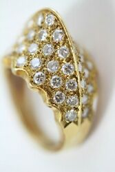 Antique Victorian 18k Gold Ring W/58 Diamonds. Egyptian Revival