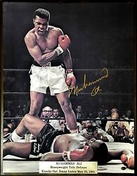 Muhammad Ali Rare Large 9 Gold Leaf Auto 16and039x20 Authentication C.o.a By Paas