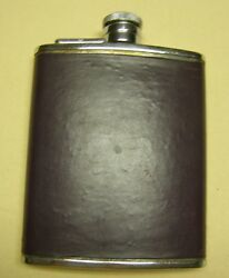 Stainless Steel 6 Oz Liquor Flask With Leather Cover Made In England