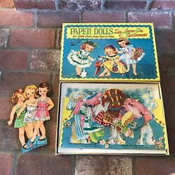 Vintage Saalfield Paper Dolls With Tie On Costumes 90 Complete As Is See Photos