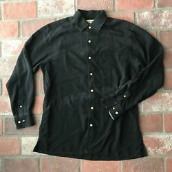 Tommy Bahama Black Menand039s Size M Silk Long Sleeve Collared Shirt As Is