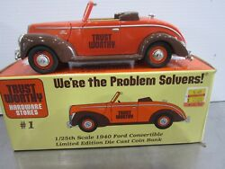 Trust Worthy Hardware Stores 1 1940 Ford Convertible Lmt. Ed. Diecast Coin Bank