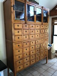 Stunning Antique Apothecary 48 Drawer Cabinet Solid Wood Beveled Glass Oriental