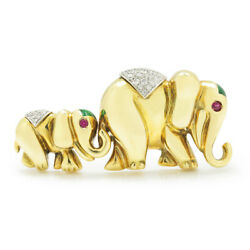 Vintage Mom & Baby Elephant Brooch Pin with Diamonds & Rubies 18K Gold