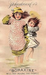 1882 Lot Of 3 Lovely Kids Scenes Boraxine Victorian Trade Cards P131