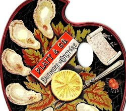1880's Platt And Co Baltimore Oysters Die Cut Plate Lemon Victorian Trade Card F65