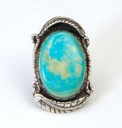 Vintage Huge Turquoise Stone And Sterling Silver Ring Signed Southwestern Sz 8