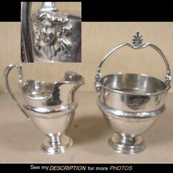 Scarce Antique Sterling Silver Sugar And Creamer Ladies Heads