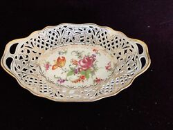 Vintage Carl Schumann Dresden China Porcelain Early C S Bavaria Reticulated Bowl