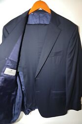219 Canali Blue Striped Two Button Suit Size 44 R Msrp1695