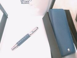 NEW MONTBLANC BOHEME TOPAZ FOUNTAIN PEN 9931 BLUE LEATHER SET CASE M Platinum