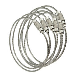 5 pcs Stainless Steel Wire Cable wScrew Clasp Key Rings Choose 4 6 8 10 12 inch