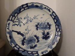 Huge 18 Antique Japanese Imari Blue-white Scallop Border Charger Hand Painted