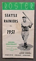 Green 1951 Seattle Rainiers Rogers Hornsby Roster And Schedule Pcl Pacific Coast