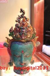 13 Tibet Bronze Gold Turquoise And Red Coral Kwan-yin Guanyin Buddha Head Bust