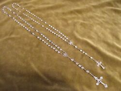 1900 French Mother-of-pearl, Crystal And Silver 2 Rosaries Sea Anchor For One