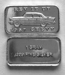 10 1 Gram 0.999+ Pure Silver 1957 Chevy And039rev It Upand039 Bar