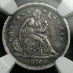 1840-o Seated Liberty Dime No Drapery Ngc Graded Xf40 F-110a R.4 Lds