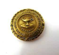 Anna Barbara Grey 10k Gold 25 Years Womans American Baptist Foreign Mission Pin