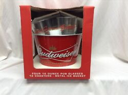 Budweiser Beer Signature Series Pub Glasses And Ice Bucket Set W/coasters