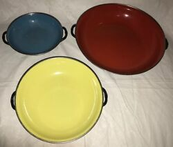 Oven Ware Enamel Set Of 3 Yellow, Blue And Red Pans Fryers Made In Yugoslovia Euc