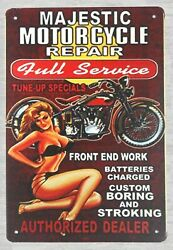 Retro Signs Sale Majestic Motorcycle Pin-up Sexy Girl Tin Metal Sign