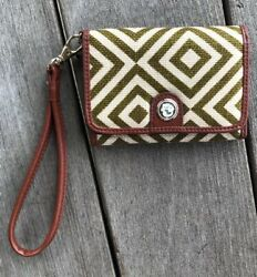 SPARTINA Snap Wallet Olive Ivory Snap Closure Leather Linen Wristlet I.D. Window $14.00