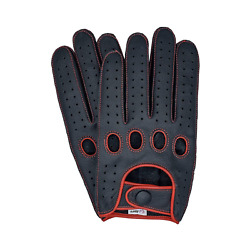 Riparo Reverse Stitched Touchscreen Texting Leather Driving Gloves - Black/red