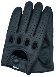 Riparo Reverse Stitched Touchscreen Texting Leather Driving Gloves - Black