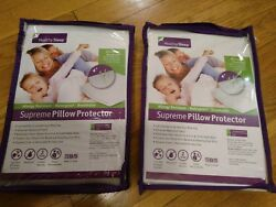 Lot of 2 Healthy Sleep Supreme Pillow Protector Queen Size