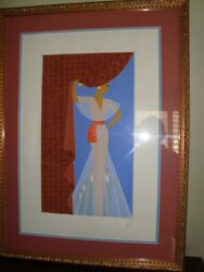 Erte - The Curtain 9 Colors Serigraph Plus Flocking +certificate Framed Signed