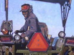 Original Oil Painting, A Happy Farmer On His Tractor, Listed Artist Nr