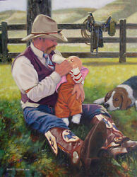 Original Oil Painting, Cowboy Father Western Art Baby And Dog, Listed Artist Nr