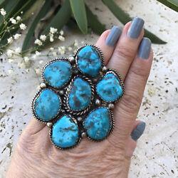 Huge Turquoise And Sterling Ring   Southwestern Jewelry   Southwestern Rings