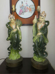 Hollywood Regency Asian Ceramic Couple Table Lamps