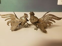 2 Vintage Brass Rooster Fighting Cocks / Chickens Figurines Statues Sculptures