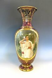 Wonderful Antique Royal Vienna Vase - Handpainted Signed And Marked 19th C430